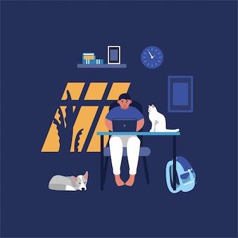 Принципиальная схема работы интернета компьютера с людьми в офисе и доме. молодой человек сидит за столом компьютера с ноутбуком и работает