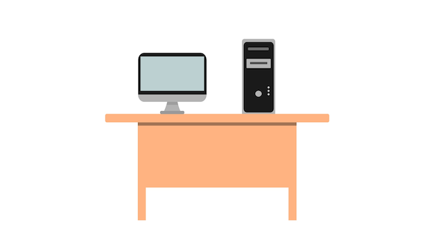 The computer is located on a brown wooden desk. white background