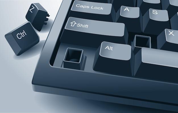 Компьютерная клавиатура со сломанными клавишами ctrl и z