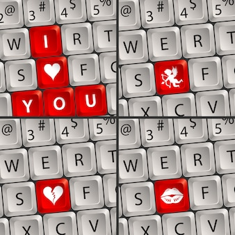 Computer keyboard with love icon