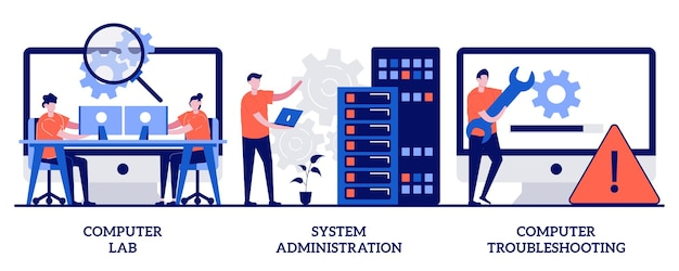 コンピュータラボ、システム管理、小さな人々とのトラブルシューティングの概念。コンピューターとソフトウェアのイラストセット。情報技術、ネットワークの維持、オペレーティングシステムの比喩。