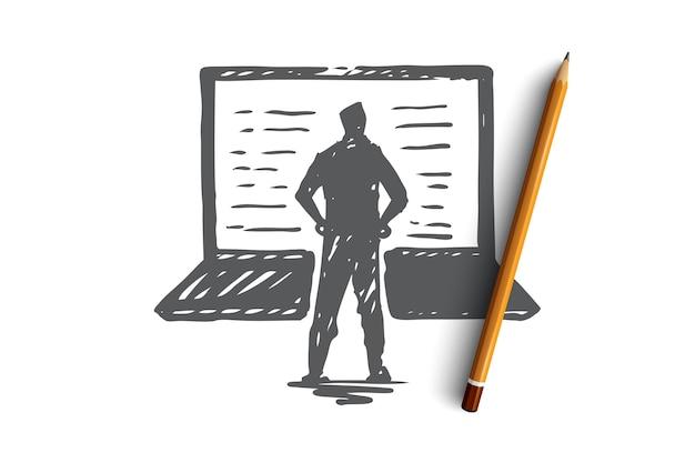 Компьютер, ноутбук, человек, работа, концепция технологии. ручной обращается человек и современный эскиз концепции ноутбука.
