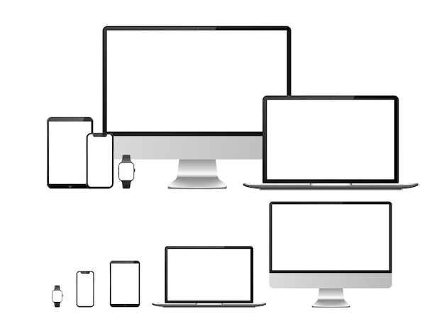 Computer, laptop, tablet, smartphone and smartwatch device with blank white screen.