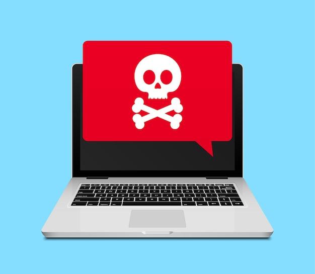 Компьютерный ноутбук вирусное мошенничество или уведомление о спаме. значок предупреждения о вирусах в интернете.