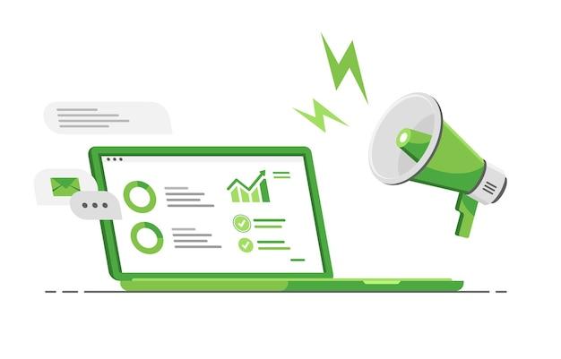 마케팅 용 데이터 분석 기능이있는 컴퓨터 노트북