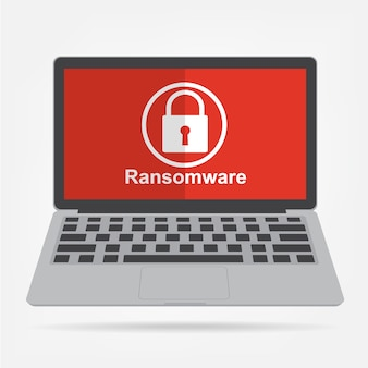 Computer laptop with ransomware malware virus