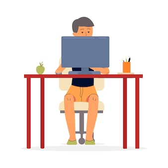 10代の子供の概念のためのオンラインコンピュータレッスンと遠隔教育