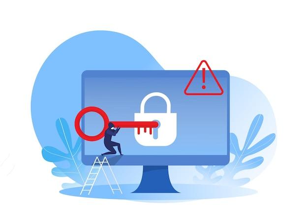 コンピューターのロック、ハッカーはキーを使用してラップトップにハッキングします。コンピューターをハッキングしようとしているサイバー攻撃者。ベクトル図