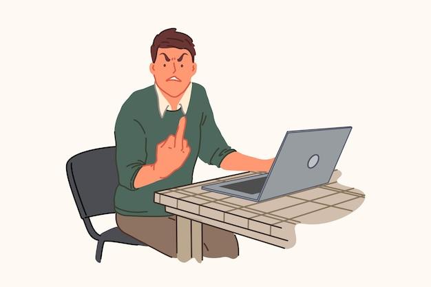 Computer malfunction, work problem, irritability, anger concept illustration