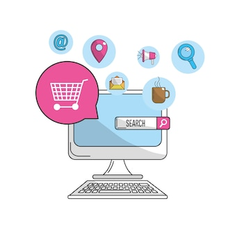 Computer to marketing business and technology icons