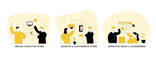 Набор плоских линейных иллюстраций компьютерного рынка. интернет-магазин компьютеров, гаджетов и электроники, компьютерных комплектующих и аксессуаров. приложение мобильного магазина. герои мультфильмов мужчин и женщин