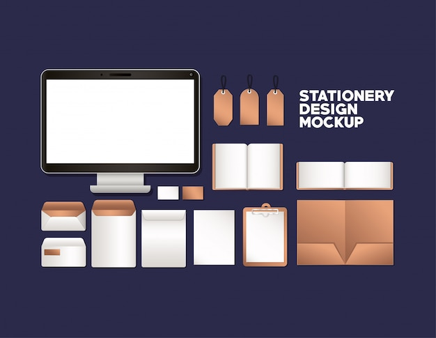 Computer and mockup set on blue background of corporate identity and stationery design theme vector illustration