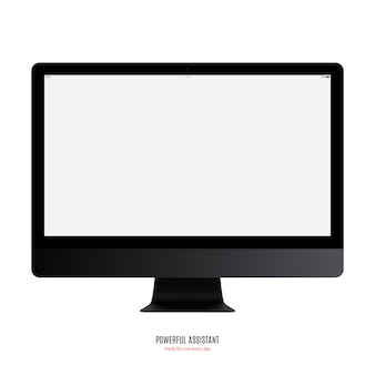 Computer monitor black color with blank screen isolated on white background. stock illustration