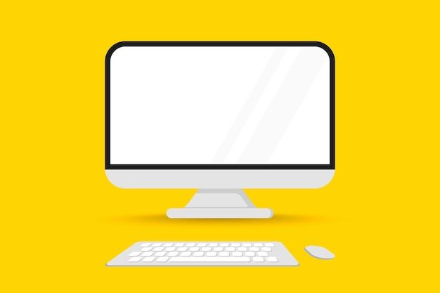 마우스와 키보드가 있는 컴퓨터 모니터 전면 보기. 스크린 컴퓨터 모니터. 빈 화면으로 표시합니다. 빈 복사 공간이 있는 기술 가제트입니다. 컬러 배경이 있는 컴퓨터 화면