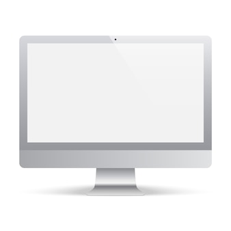 Computer monitor grey color with blank screen. realistic and detailed display monitor