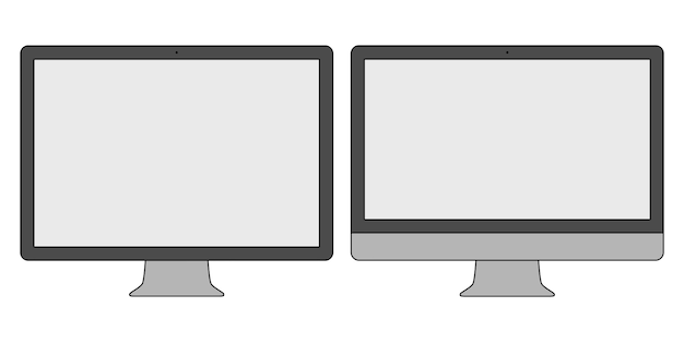 Computer monitor icon set in thin line design style isolated on white background. display symbol. stock illustration