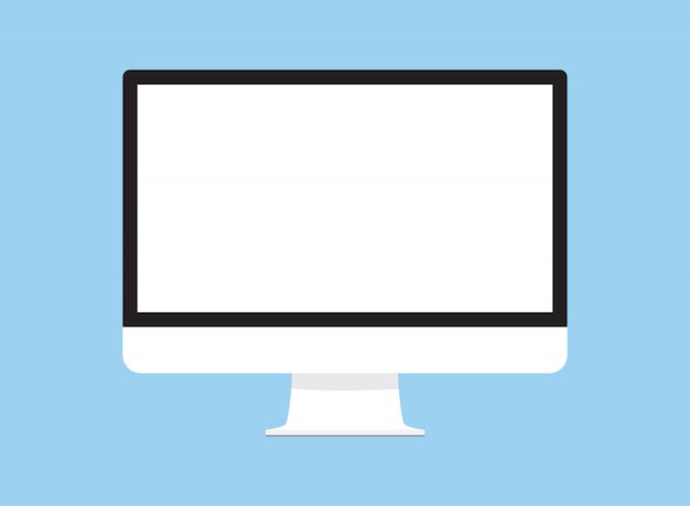 Computer monitor isolated on blue back flat design