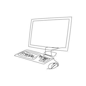 Computer monitor keyboard  continuous line drawing one line art of lsd screen personal computer