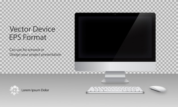 Computer monitor, keyboard and mouse with black screen isolated. can use for template presentation and banner. device set . gadget mock up. vector illustration.