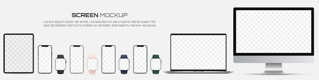 コンピューターモニター、ラップトップ、タブレット、スマートフォン、空白の画面を持つスマートウォッチ。スクリーンデバイスのモックアップ