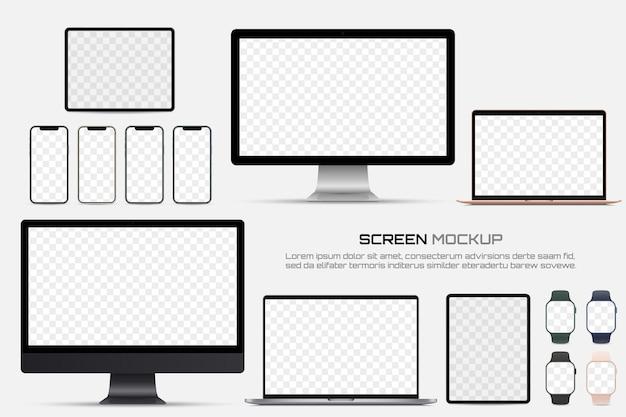 空白の画面を持つコンピューターモニター、ラップトップ、タブレット、スマートフォン、スマートウォッチ。