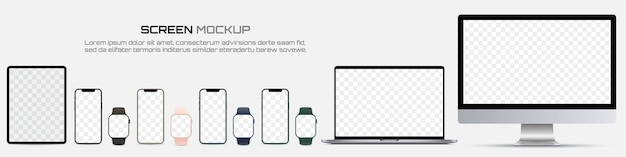Computer monitor, laptop, tablet, smartphone and smart watch with blank screen. mockup of screen device