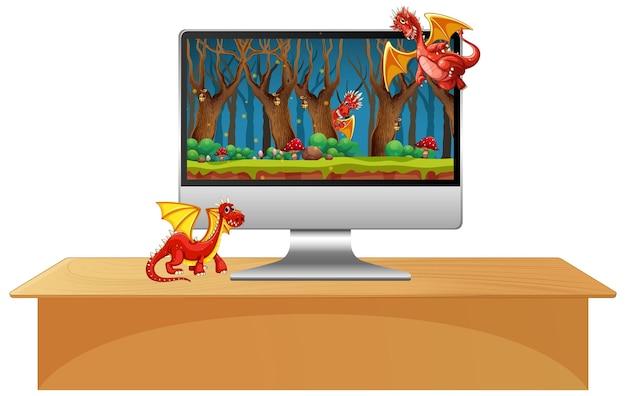 画面上のドラゴンの漫画のキャラクターとテーブルの上のコンピューターモニター