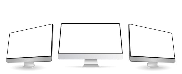 현대적인 스타일의 웹 사이트 디자인 프로젝트를 보여주는 투시도가있는 컴퓨터 모니터 화면 모형. 흰색 빈 화면이 컴퓨터 모니터 목업의 세 패널. 삽화