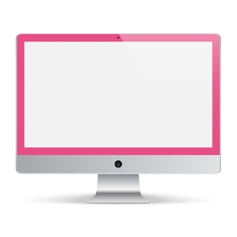 Computer monitor for the system pink color with blank screen isolated