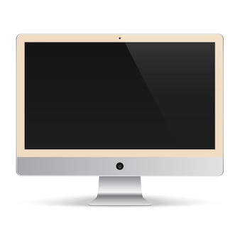 Computer monitor for the system unit on white background beige color with black screen isolated