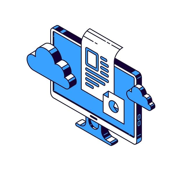 Monitor del computer, cloud virtuale e documenti con informazioni, icone vettoriali isometriche