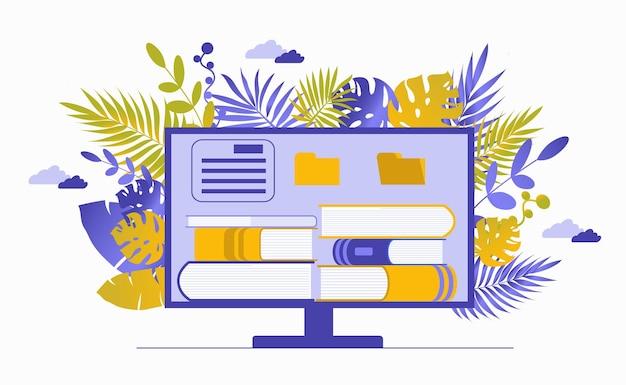 Компьютерный монитор со стопкой книг. чтение литературы, получение знаний и обучение.