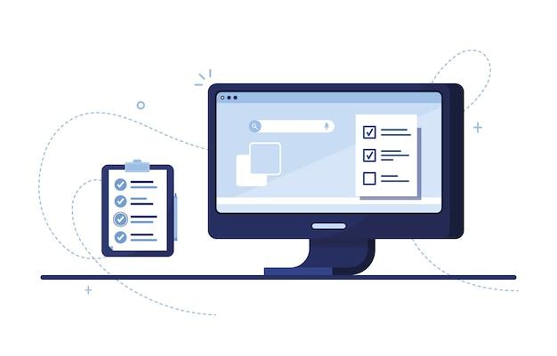 記入済みの申請書とクリップボードまたはやることリストを備えたコンピューターモニター。青