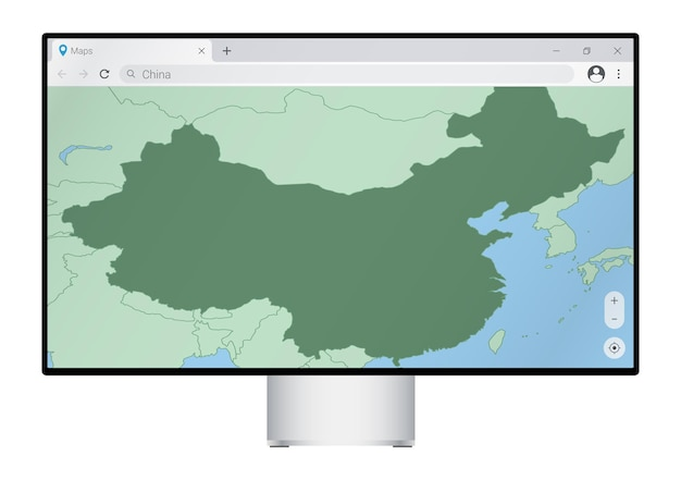 Computer monitor with map of china in browser, search for the country of china on the web mapping program.