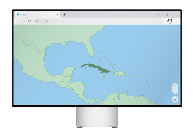 Computer monitor with map of cuba in browser, search for the country of cuba on the web mapping program.