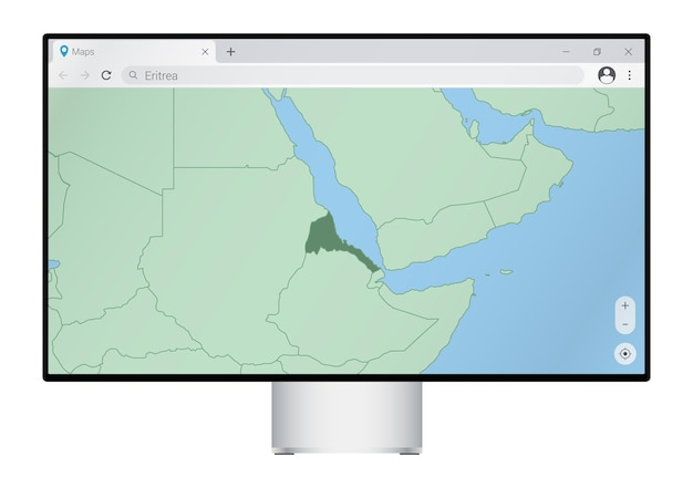 Computer monitor with map of eritrea in browser, search for the country of eritrea on the web mapping program.