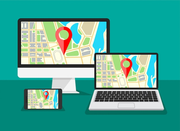 Монитор компьютера с навигацией по карте на экране. ноутбук, дисплей телефона с gps-навигатором и красная точка на них. шаблон для рекламы туристического баннера. иллюстрация
