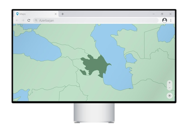 ブラウザでアゼルバイジャンの地図を備えたコンピュータモニター、webマッピングプログラムでアゼルバイジャンの国を検索します。