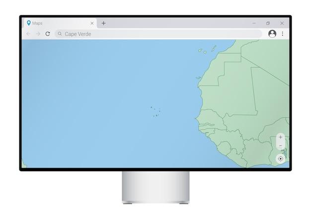 Монитор компьютера с картой кабо-верде в браузере, найдите страну кабо-верде в картографической веб-программе.