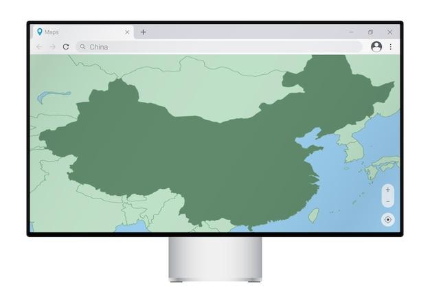 브라우저에 중국 지도가 있는 컴퓨터 모니터, 웹 매핑 프로그램에서 중국 국가를 검색합니다.