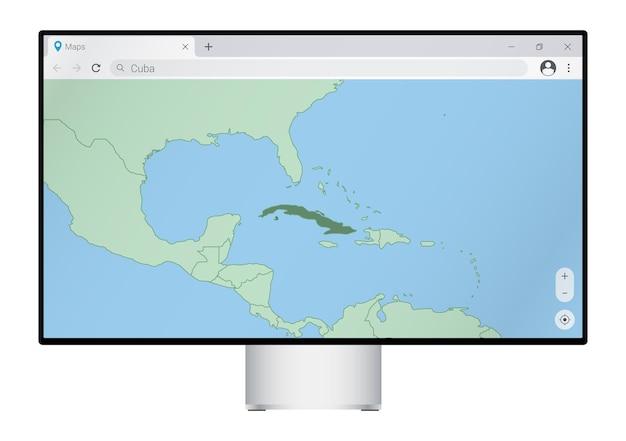 브라우저에서 쿠바 지도가 있는 컴퓨터 모니터, 웹 매핑 프로그램에서 쿠바 국가를 검색합니다.
