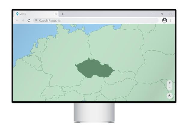 ブラウザにチェコ共和国の地図が表示されたコンピュータモニター。webマッピングプログラムでチェコ共和国の国を検索します。