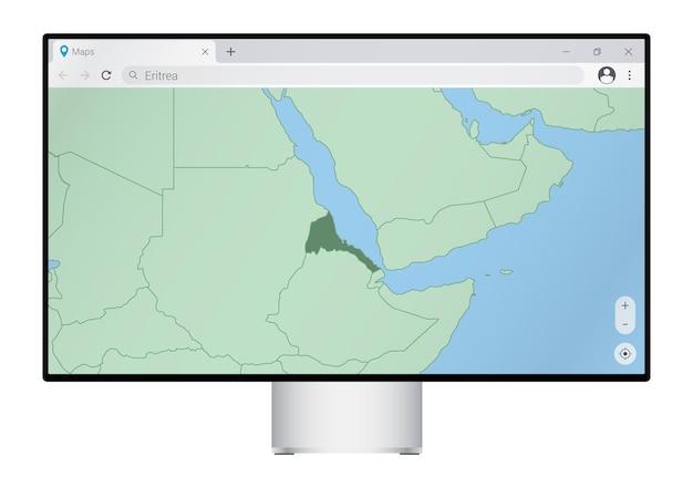 브라우저에서 에리트레아 지도가 있는 컴퓨터 모니터, 웹 매핑 프로그램에서 에리트레아 국가를 검색합니다.