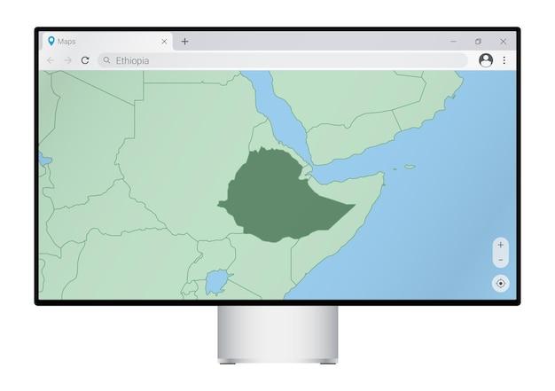 브라우저에 에티오피아 지도가 있는 컴퓨터 모니터, 웹 매핑 프로그램에서 에티오피아 국가를 검색합니다.
