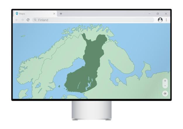 ブラウザにフィンランドの地図が表示されたコンピュータモニター。webマッピングプログラムでフィンランドの国を検索します。