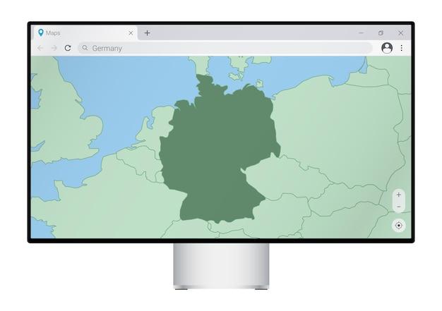 ブラウザにドイツの地図が表示されたコンピュータモニター。webマッピングプログラムでドイツの国を検索します。