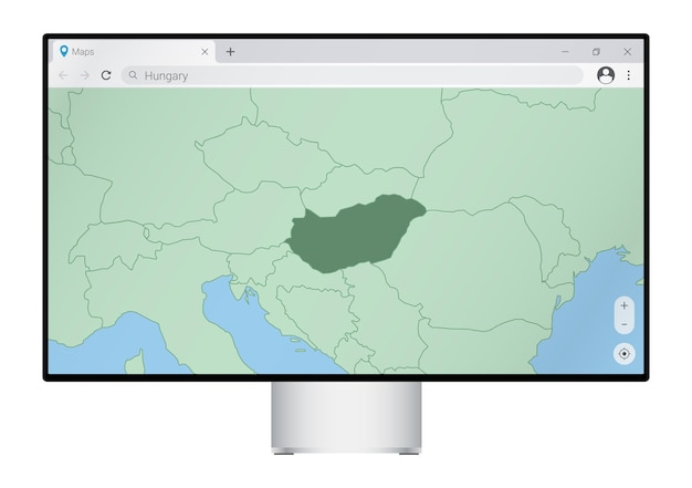 브라우저에 헝가리 지도가 있는 컴퓨터 모니터, 웹 매핑 프로그램에서 헝가리 국가를 검색합니다.