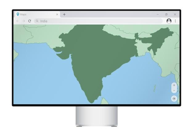 브라우저에 인도 지도가 있는 컴퓨터 모니터, 웹 매핑 프로그램에서 인도 국가를 검색합니다.