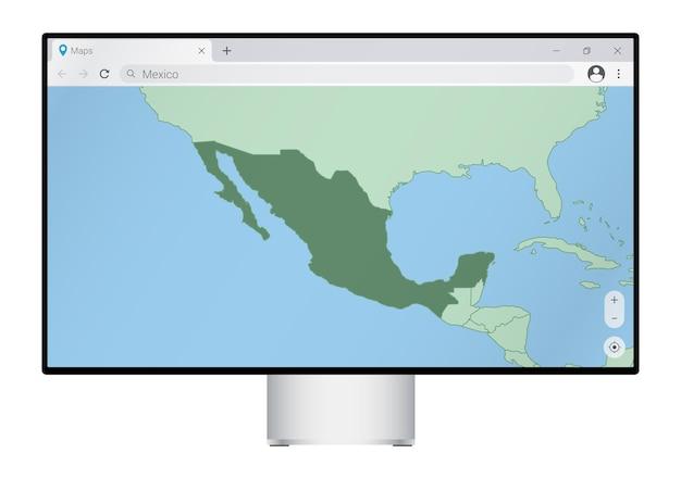 브라우저에서 멕시코 지도가 있는 컴퓨터 모니터, 웹 매핑 프로그램에서 멕시코 국가를 검색합니다.