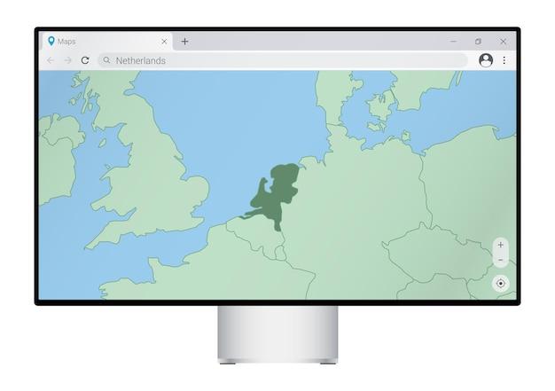 브라우저에서 네덜란드 지도가 있는 컴퓨터 모니터, 웹 매핑 프로그램에서 네덜란드 국가를 검색합니다.